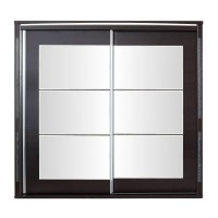 Dulap dormitor Allegro L220, wenge + saten lucios, 2 usi glisante, cu oglinda, 220 x 61 x 211 cm, 11C