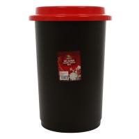 Cos gunoi pentru colectare selectiva Plastina din plastic, forma cilindrica, negru, cu capac rosu, 50L