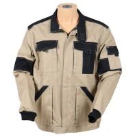 Jacheta de lucru Athos, bumbac, bej + negru, cu fermoar, marimea 48