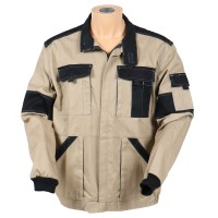Jacheta de lucru Athos, bumbac, bej + negru, cu fermoar, marimea 54