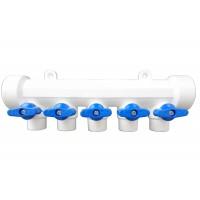 Distribuitor PPR, cu 5 cai 20 mm, albastru