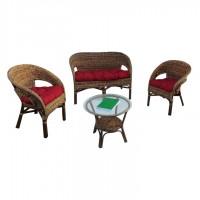 Set masa rotunda, cu 2 scaune + 1 banca cu perne, pentru gradina Kiki 211M, din ratan natural si foaie de banana