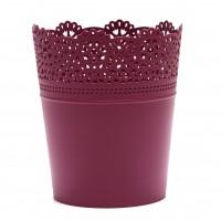 Ghiveci din plastic Lace, fucsia D 16 cm