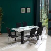 Set masa extensibila cu 6 scaune tapitate Viva, bucatarie, gri, 3C