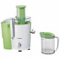 Storcator de fructe si legume Bosch MES25G0, 700 W, 2 viteze, tub alimentare 73 mm, recipient pulpa 2 l, recipient suc 1.25 l, alb + verde