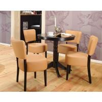 Set masa fixa cu 4 scaune tapitate Nisa, bucatarie, negru + maro + crem