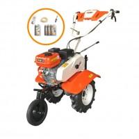 Motocultor pe benzina O-Mac 750 ECO, 7 CP, 3 viteze, cu roti transport + pachet consumabile