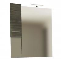 Dulap baie cu oglinda, iluminare, 1 usa, stanga, Savini Due Rubino 4324S, rovere scuro, 82 x 17.5 x 102 cm