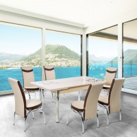 Set masa extensibila cu 6 scaune tapitate Olimpia, bucatarie, crem + maro, 3C