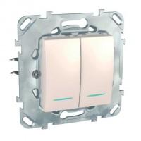 Intrerupator dublu cu indicator luminos Schneider Electric Unica MGU50.0101.25NZ, incastrat, fildes