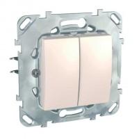 Intrerupator dublu Schneider Electric Unica MGU50.206.25NZ, incastrat, fildes