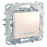 Intrerupator simplu cu indicator luminos Schneider Electric Unica MGU50.203.25NZ, incastrat, fildes