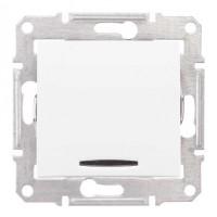 Intrerupator cap scara simplu cu indicator luminos Schneider Electric Sedna SDN0401121, incastrat, alb