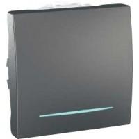 Intrerupator simplu cu indicator luminos Schneider Electric Unica MGU3.201.12N, incastrat, modular - 2, grafit