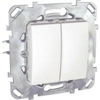 Intrerupator dublu Schneider Electric Unica MGU50.0101.18Z, incastrat, alb