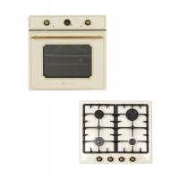 Set Studio Casa Toscana plita incorporabila pe gaz PG 660 + cuptor incorporabil electric rustic FE660 avena