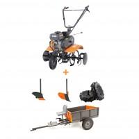 Pachet motocultor pe benzina O-Mac MC 70, 7 CP, 3 viteze + accesorii + remorca motocultor O-Mac, 500 kg