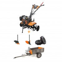 Pachet motocultor pe benzina O-Mac MC 80, 8 CP, 3 viteze + accesorii + remorca motocultor O-Mac, 500 kg