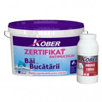 Vopsea lavabila interior, Zertifikat, antimucegai, baie si bucatarie, alba, 4 L + amorsa 0.75 L