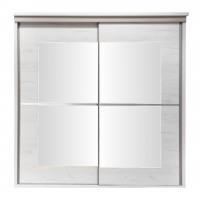 Dulap dormitor Pallas L207/H212, alb craft + bazalt mat, 2 usi glisante, cu oglinda, 207 x 62 x 210 cm, 9C