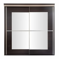 Dulap dormitor Pallas L207/H212, wenge + bazalt mat, 2 usi glisante, cu oglinda, 207 x 62 x 210 cm, 8C
