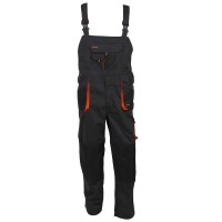 Pantaloni pentru protectie Classic, pieptar, tercot, poliester + bumbac, gri inchis, negru, portocaliu, marimea 52