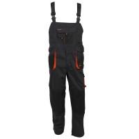 Pantaloni pentru protectie Classic, pieptar, tercot, poliester + bumbac, gri inchis, negru, portocaliu, marimea 60