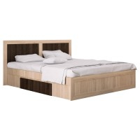 Pat dormitor Adam, matrimonial, cu sertar, stejar bardolino + sonoma dark, 140 x 200 cm, 4C