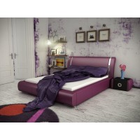 Pat dormitor Iris, matrimonial, tapitat, diverse culori, 160 x 200 cm, 4C