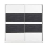 Dulap dormitor Pictor, alb + lemn negru, 2 usi glisante, 226.5 x 67 x 227 cm, 5C