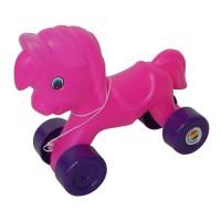 Jucarie de tras, pentru copii, ponei, din plastic, diverse culori, 23 x 12 x 22 cm