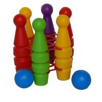 Jucarie de indemanare, pentru copii, popice din plastic, set 6 buc + 2 mingi