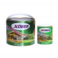 Lac / lazura 3 in 1 pentru lemn, Kober Ecolasure Extra, castan, pe baza de apa, interior / exterior, 2.5 L + impregnant pentru lemn Kober, incolor, 0.75 L