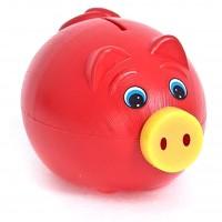 Jucarie pusculita, pentru copii, Porky, din plastic, diverse culori, 11 x 19 cm