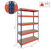 Raft metalic depozitare, Rivet, 192 x 100 x 50 cm, portocaliu + albastru, 300 kg/polita