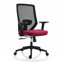 Scaun birou ergonomic Electra, rotativ, textil, bordo + negru