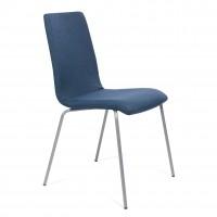 Scaun birou vizitator Viola, fix, textil E80, albastru inchis