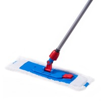 Mop plat microfibra cu fasie abraziva + coada metalica + suport din plastic, 96 x 13 x 7.5 cm