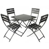 Set masa patrata, cu 4 scaune, pentru gradina Corso, din metal cu lemn