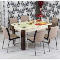 Set masa extensibila cu 6 scaune tapitate R344 bucatarie, crem + capuccino, 3C