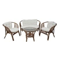Set masa rotunda, cu 2 scaune + 1 canapea cu perne, pentru gradina Bahama SC 1900, din ratan natural