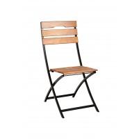 Scaun pentru gradina, pliant, Sicilia, metal + lemn, natur