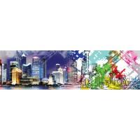 Panou decorativ bucatarie Splashback, compozit, luminescent, SPB 025, urban abstract, 2000 x 600 x 3 mm