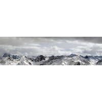 Panou decorativ bucatarie Splashback, compozit, luminescent, SPB 058, munti iarna, 2000 x 750 x 3 mm