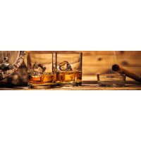 Panou decorativ bucatarie Splashback, compozit, luminescent, SPB 083, pahare whisky, 2000 x 600 x 3 mm