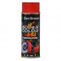 Spray vopsea rezistent la temperaturi ridicate, Den Braven Super Color High Temperature, rosu, interior / exterior, 400 ml