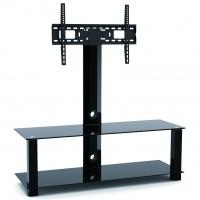 Stand TV LCD / LED, SerEnd T4001L, 2 rafturi, reglabil, 80 - 140 cm, 40 kg, sticla securizata + otel, 130 x 120 x 40 cm