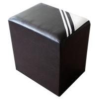 Taburet Bandy tip cub, fix, dreptunghiular, imitatie piele wenge, 40 x 30 x 42 cm