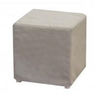 Taburet Joy fix, patrat, stofa gri deschis, 40 x 40 x 40 cm
