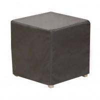 Taburet Joy tip cub, fix, patrat, stofa gri inchis, 40 x 40 x 40 cm